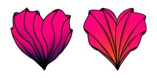传染媒介上色了在zenart样式的手拉的心脏 库存例证