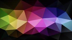 传染媒介不规则的多角形背景-三角低多样式-在暗色的彩虹小条 免版税库存照片