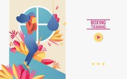 传染媒介与做与吊袋的少女的概念横幅拳击训练 生动登陆的页体育场面,有益于路线或 向量例证