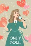传染媒介与唱恋爱歌曲的可爱的女孩的情人节例证 库存例证