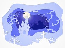传染媒介与城堡和坟墓的万圣夜例证 3d层状仿效 库存图片