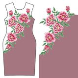 传染媒介与菊花和牡丹的礼服设计 免版税库存图片