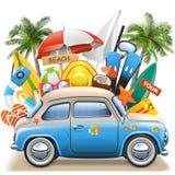 传染媒介与蓝色汽车的海滩概念 皇族释放例证