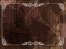 传染媒介与装饰白色框架,木背景的葡萄酒背景 向量例证