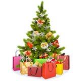传染媒介与购物带来的圣诞树 向量例证