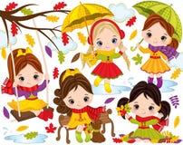 传染媒介与逗人喜爱的小女孩和五颜六色的叶子的秋天集合