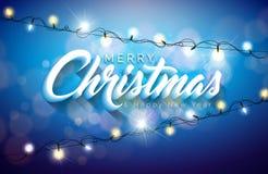 传染媒介与3d印刷术设计和假日轻的诗歌选的圣诞快乐例证在发光的蓝色背景 愉快 库存图片