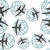 传染媒介世界各地飞行在白色背景的象飞机无缝的样式 库存例证