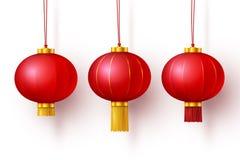传染媒介中国传统垂悬的红色灯笼 向量例证