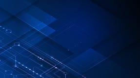 传染媒介主板或电路板在蓝色背景 例证计算机硬件,集成电路系统设计 免版税图库摄影