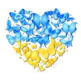 传染媒介乌克兰的蝴蝶心脏 向量例证