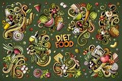 传染媒介乱画动画片套饮食对象和元素的食物组合 免版税图库摄影