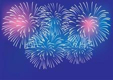 传染媒介五颜六色的烟花背景庆祝和党概念 皇族释放例证