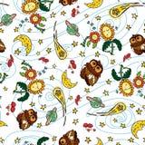传染媒介五颜六色的猫头鹰彗星和月亮重复样式有白色背景 适用于缎带包装、纺织品和墙纸 皇族释放例证