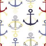 传染媒介五颜六色的船锚重复无缝的样式 皇族释放例证