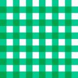 传染媒介亚麻制方格花布方格的一揽子桌布 与自然纺织品textur的无缝的白色绿色布料桌样式背景 皇族释放例证