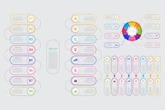 传染媒介介绍的企业模板 现代数据形象化 图表,与步, 8个选择的图的抽象元素, 皇族释放例证