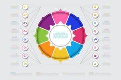传染媒介介绍的企业模板 现代数据形象化 图表,与步, 8个选择的图的抽象元素 向量例证