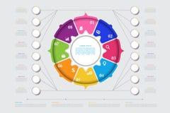传染媒介介绍的企业模板 现代数据形象化 图表,与步, 8个选择的图的抽象元素 库存例证