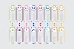 传染媒介介绍的企业模板 现代数据形象化 图表,与步, 8个选择的图的抽象元素 皇族释放例证
