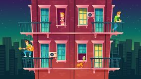 传染媒介住宅多层的公寓,邻里 人休闲  皇族释放例证