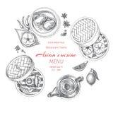 传染媒介例证剪影-亚洲食物 卡片菜单昏暗的韩国食物 葡萄酒设计模板,横幅 库存照片