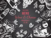 传染媒介例证剪影-酒和乳酪 卡片菜单餐馆 葡萄酒设计模板,横幅 免版税图库摄影