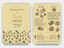 传染媒介例证剪影-面团 卡片菜单意大利人餐馆 横幅italan食物 免版税库存照片