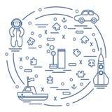 传染媒介例证哄骗玩具对象:宇航员,火箭,船, 免版税库存照片