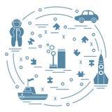 传染媒介例证哄骗玩具对象:宇航员,火箭,船, 免版税库存图片
