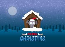 传染媒介例证圣诞快乐,冬天风景 免版税库存照片