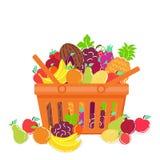 传染媒介例证在手提篮的果子混合 免版税库存图片