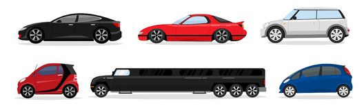 传染媒介例证套不同的现代客车 轿车汽车,普遍汽车,斜背式的汽车,微型汽车,大型高级轿车 皇族释放例证
