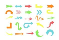 传染媒介例证套不同的颜色箭头,在白色背景的尖汇集 皇族释放例证