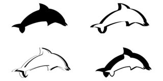 传染媒介例证套四只风格化海豚 库存照片
