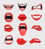 传染媒介例证套红色妇女嘴唇 装腔作势地说与一亲吻、微笑、舌头和许多情感嘴emoji在透明 向量例证