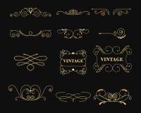 传染媒介例证套装饰的葡萄酒图表元素在黑背景 象征,纹章学组合图案 库存例证
