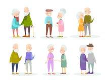 传染媒介例证套逗人喜爱和好的老人在白色背景的夫妇用不同的情况和姿势 老 皇族释放例证