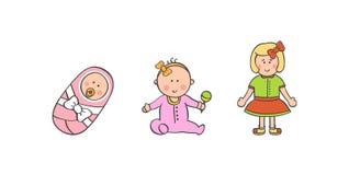 传染媒介例证女婴年龄 库存图片