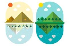 传染媒介例证平的样式设计土地山和树与4个季节风化 库存照片