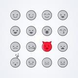传染媒介例证摘要被隔绝的滑稽的逗人喜爱的平的样式emoji意思号象设置了用不同的心情 库存图片