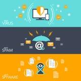 传染媒介例证概念黑客三平的横幅设置了与乱砍反病毒电子邮件垃圾短信和间谍软件保护 向量例证