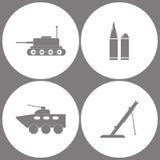 传染媒介例证集合办公室军队象 坦克、子弹、装甲车和灰浆象的元素 向量例证