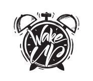 传染媒介例证:Wake Up的手写的刷子类型lettring与手拉的闹钟的在白色背景 向量例证