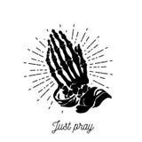 传染媒介例证-祈祷的最基本的手 库存例证