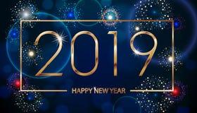 传染媒介假日烟花背景 新年快乐2019年 季节问候,五颜六色的烟花发短信给设计 向量 向量例证