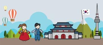 传染媒介关于韩国和著名地方逗人喜爱的字符的框架设计在韩国 向量例证