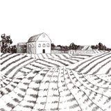 传染媒介农场被刻记的样式图画,在白色背景的黑线 皇族释放例证