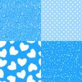 传染媒介冬天无缝的样式 套抽象在蓝色背景隔绝的纹理白色例证 皇族释放例证