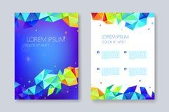 传染媒介几何抽象小册子设计,小平面三角样式 飞行物,海报模板 库存例证